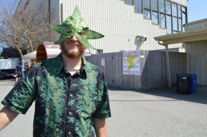 Stephen Gieder wearing a custom cannabis leaf mask